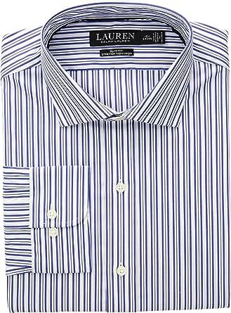83f485d8e449c8 Lauren Ralph Lauren Mens Slim Fit No-Iron Striped Cotton Dress Shirt at Amazon  Men's Clothing store: