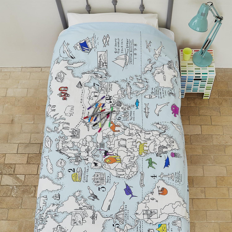 Doodle World Map Bettbezug f/ärben Bettw/äsche Bettbezug mit waschbare Stoff Marker Farbe Ihre eigene Weltkarte