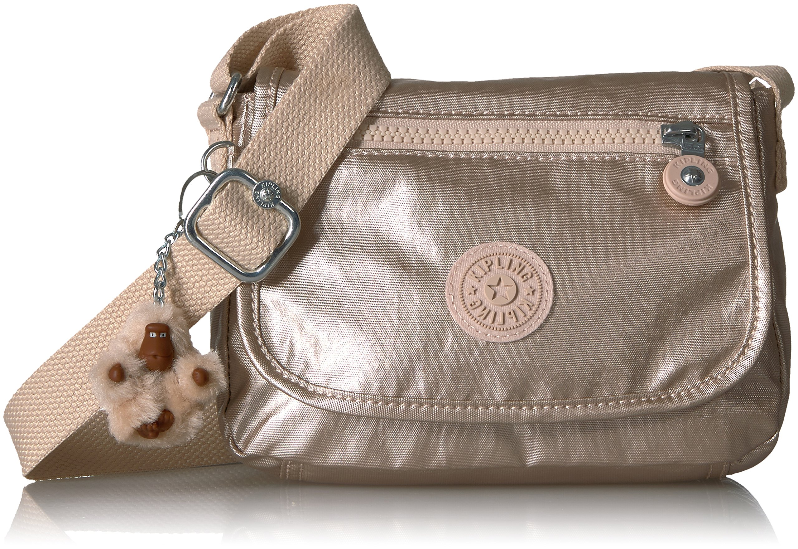 1067fe4d56ae Galleon - Kipling Sabian Sparkly Gold Crossbody Mini Bag