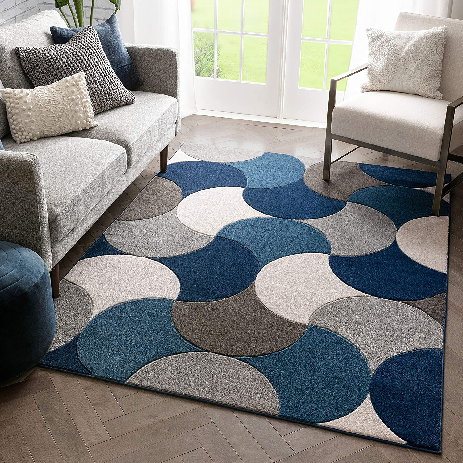 Amazon Com Well Woven Hilda Blue Modern Geometric Circles Boxes Pattern Area Rug Home Kitchen