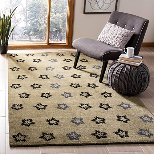 Safavieh Soho Collection SOH720A Handmade Sage and Black Premium Wool Square Area Rug 6 Square