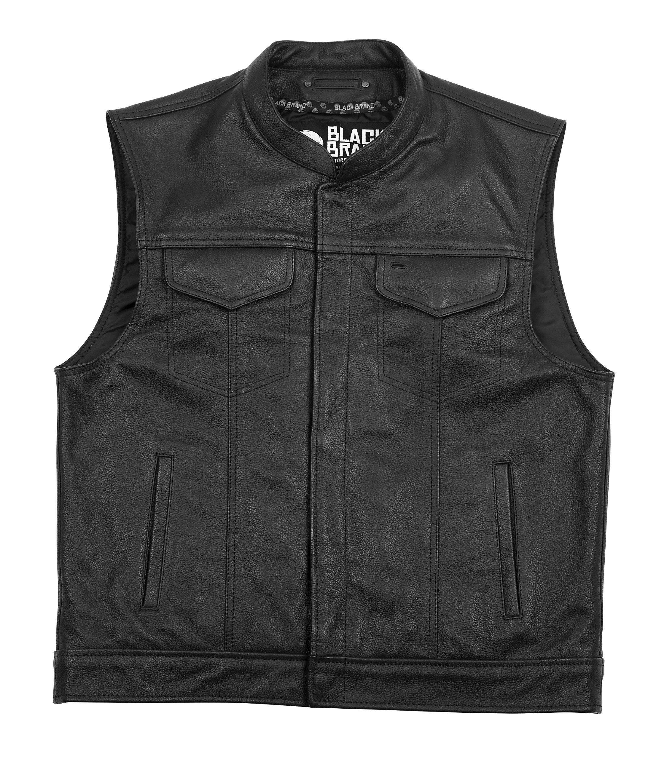 Black Brand Men's Leather Club Motorcycle Vest (Black, 4X-Large)