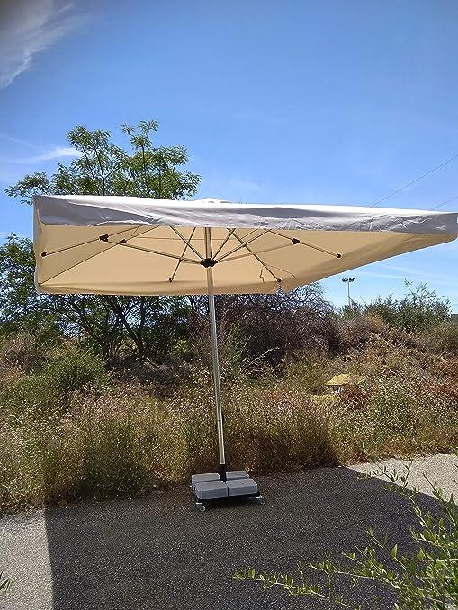 Sombrilla Aloha 400x400 + 160 kg con Ruedas. Grande & Robusta, Fabricada con Materiales de Primera Calidad. (Arena Volante): Amazon.es: Jardín