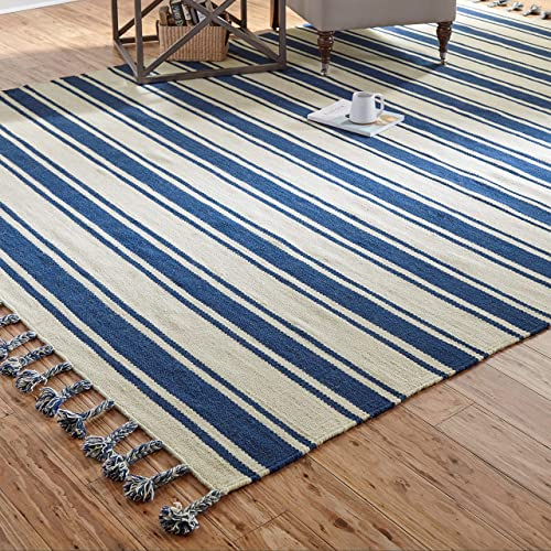 Stone Beam Los Altos Striped Dhurrie Farmhouse Area Rug, 8 x 10 6 , Navy and Ivory