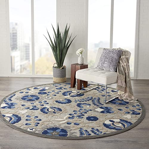 Nourison Aloha Indoor/Outdoor Floral Natural/Blue 7'10″ x Area Rug 8' Round