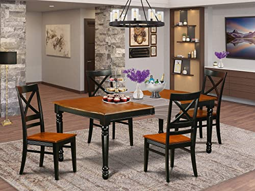 DOQU5-BCH-W 5 PC kitchen tables and chair set with one Dover dining table and 4 kitchen chairs in a Black and Cherry Finish