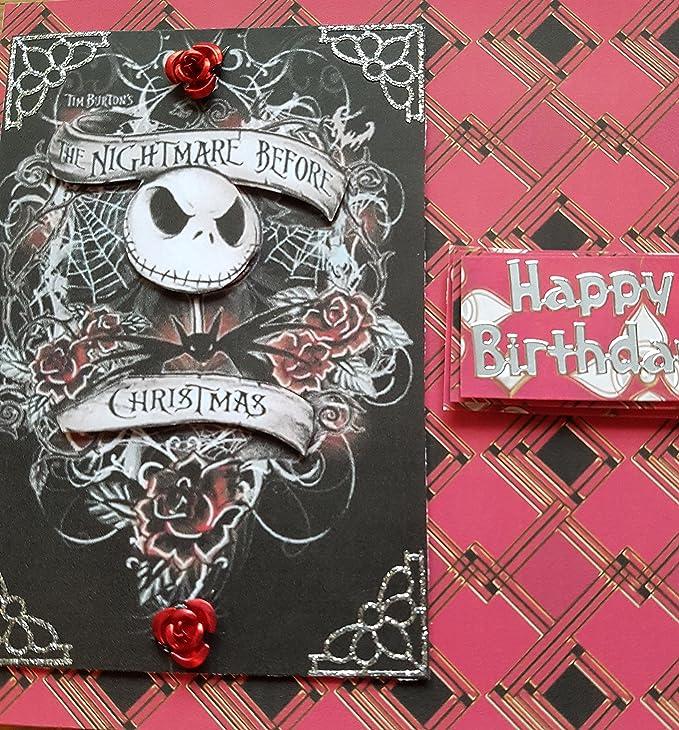 Handmade Nightmare Before Christmas Inspired Birthday Card Red