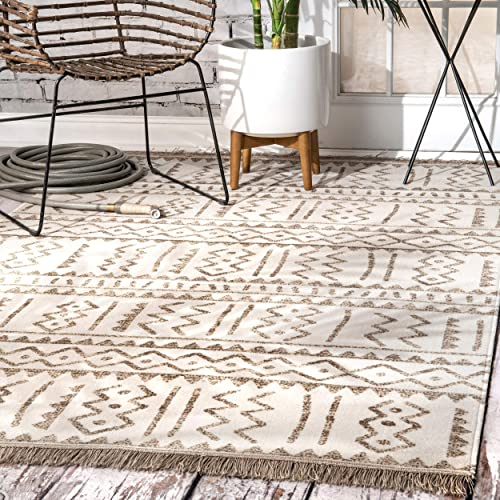 nuLOOM Tribal Outdoor Rug, 8 10 x 12 , Beige