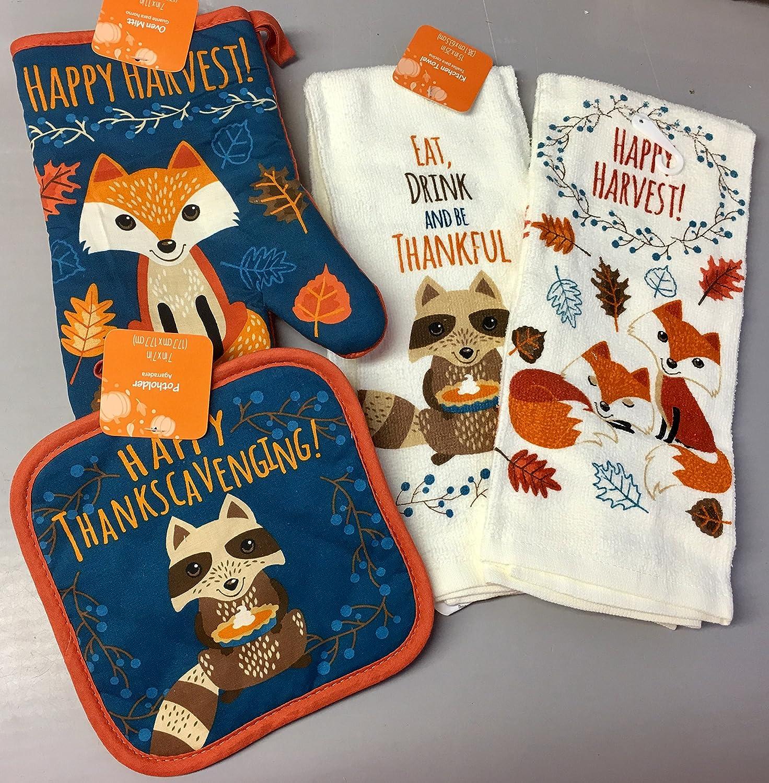 Amazon.com: Harvest Fall Fox Raccoon Critter Kitchen Set Towels Mitt: Home & Kitchen