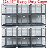 """Homey Pet 43"""" Stackable or Non-Stackable Heavy Duty Cage W/ Feeding Door, Casters and Tray"""