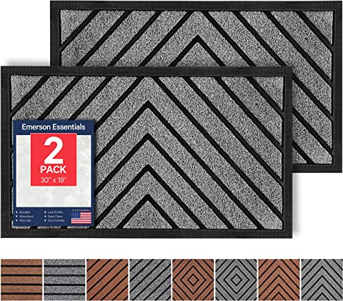 Emerson Essentials 2-Pack Outdoor Doormat, 30×18, Heavy Duty Waterproof, Easy Clean Rug, Rubber Low-Profile Mats for Entry, Outside Carpet Modern Gray Eco-Friendly, U.S.A. Based Company