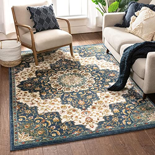 Well Woven Olivia Blue Traditional Medallion Area Rug 8×10 7 10 x 9 10