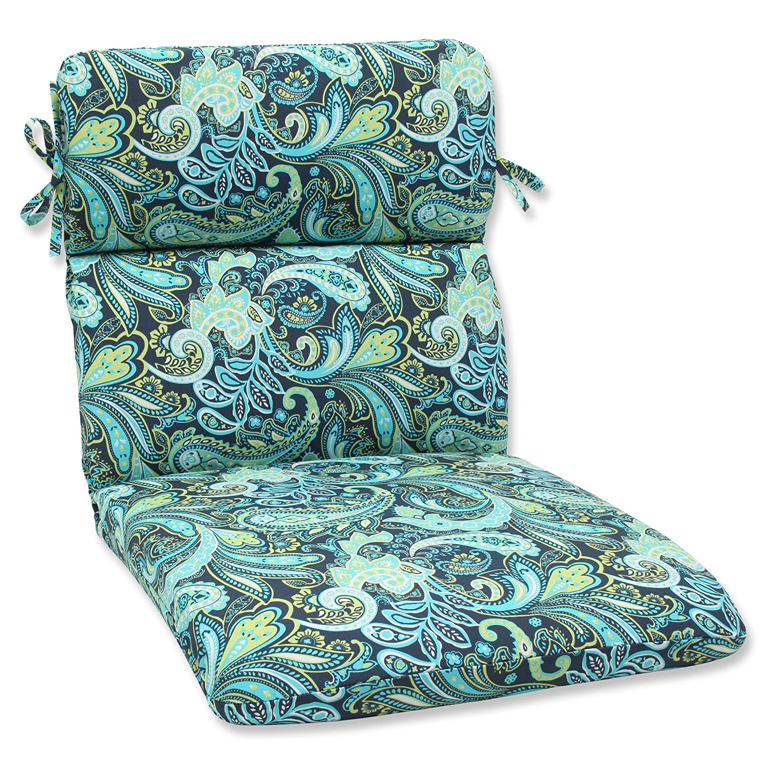 amazoncom pillow perfect outdoor pretty paisley rounded corners chair cushion navy home u0026 kitchen