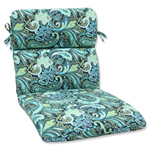 Pillow Perfect Outdoor Pretty Paisley Rounded Corners Chair Cushion, Blue