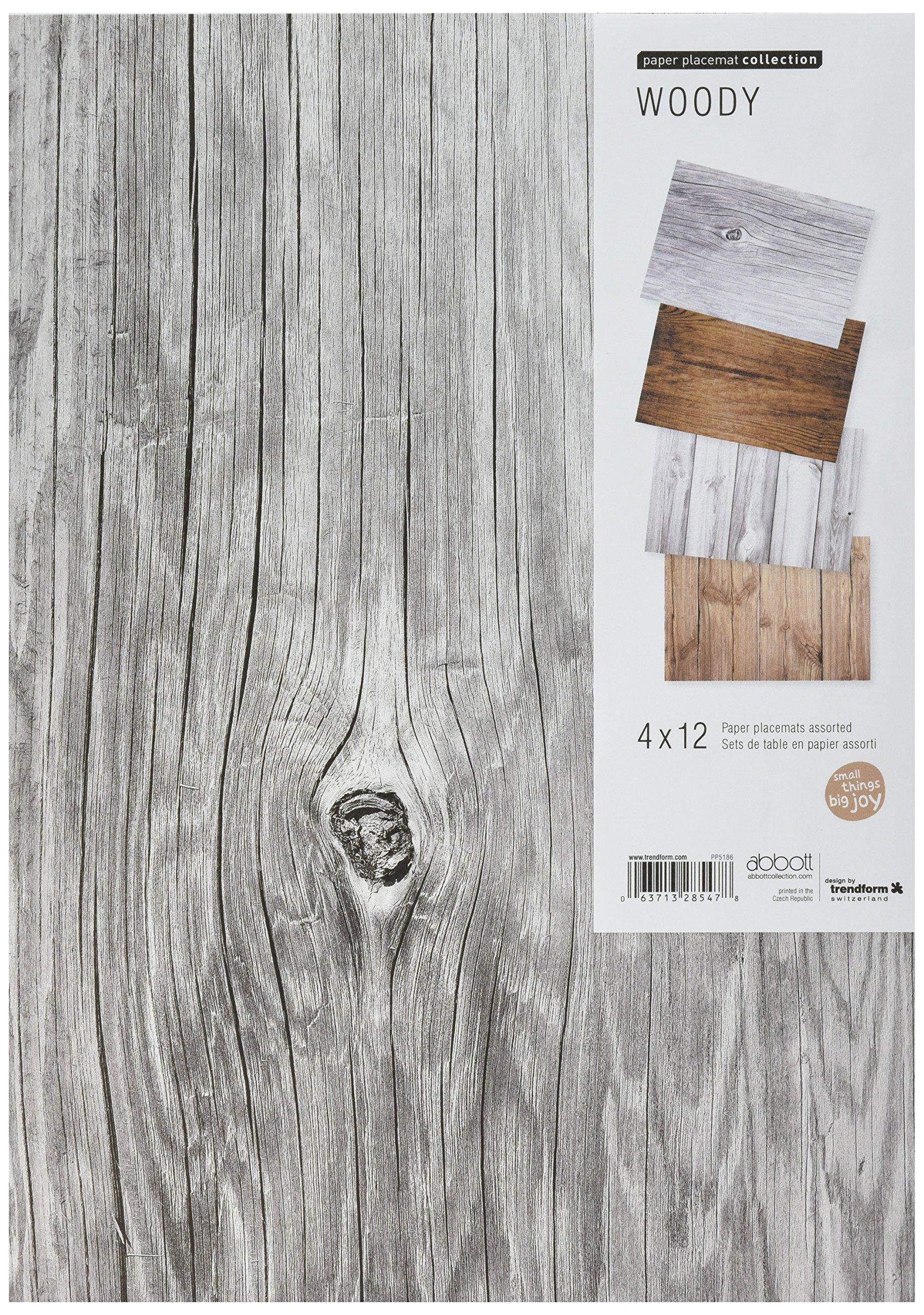 Abbott Collection 48 Piece 4 Assorted Wood Grain Mats, 11 x 17''