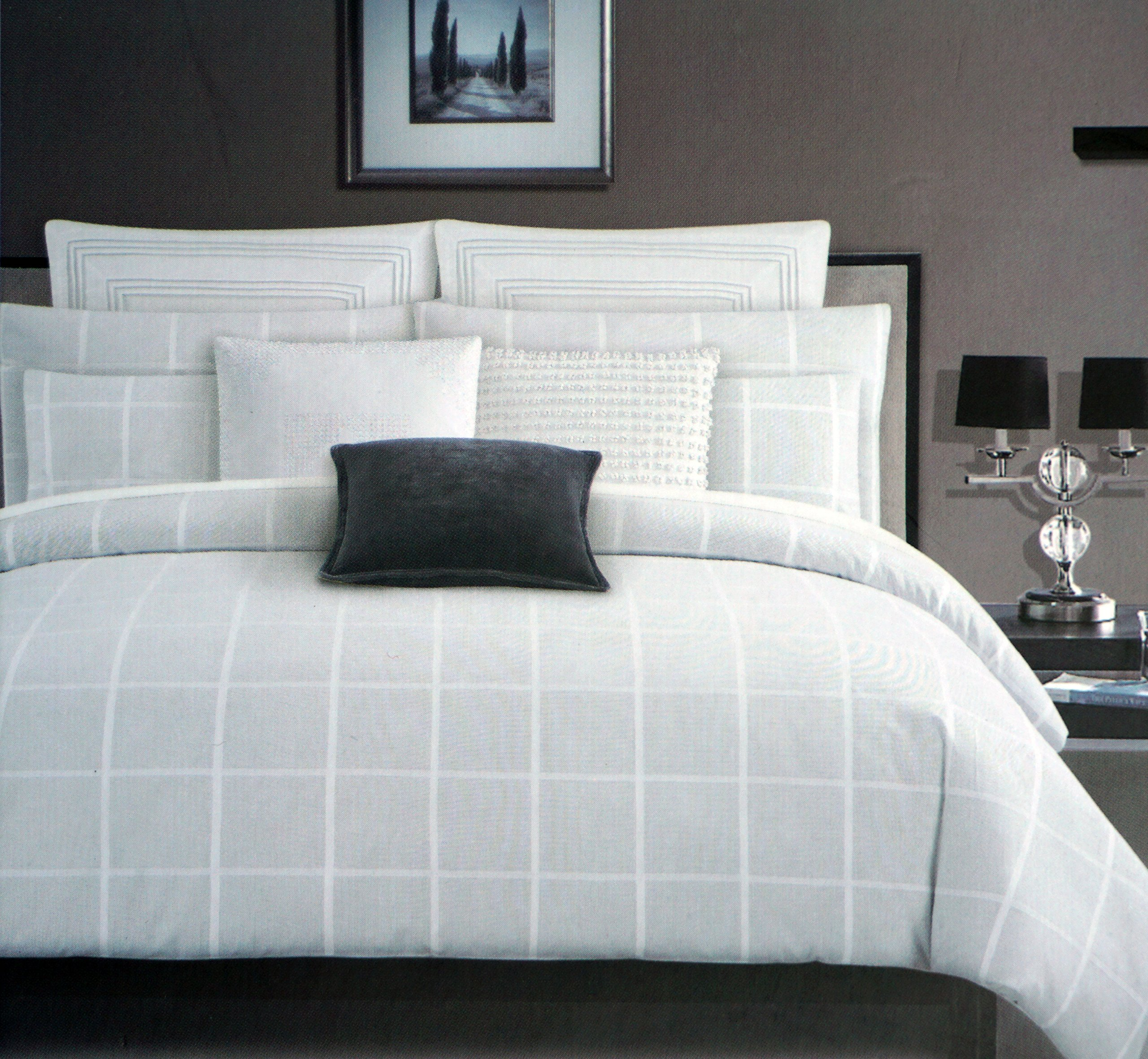 Tahari Bedding 3 Piece Full / Queen Duvet Cover Set Modern Geo Squares Textured Woven White Stripes Crosshatch Window Pane Plaid on a Background of White and Light Gray Thread Mesh