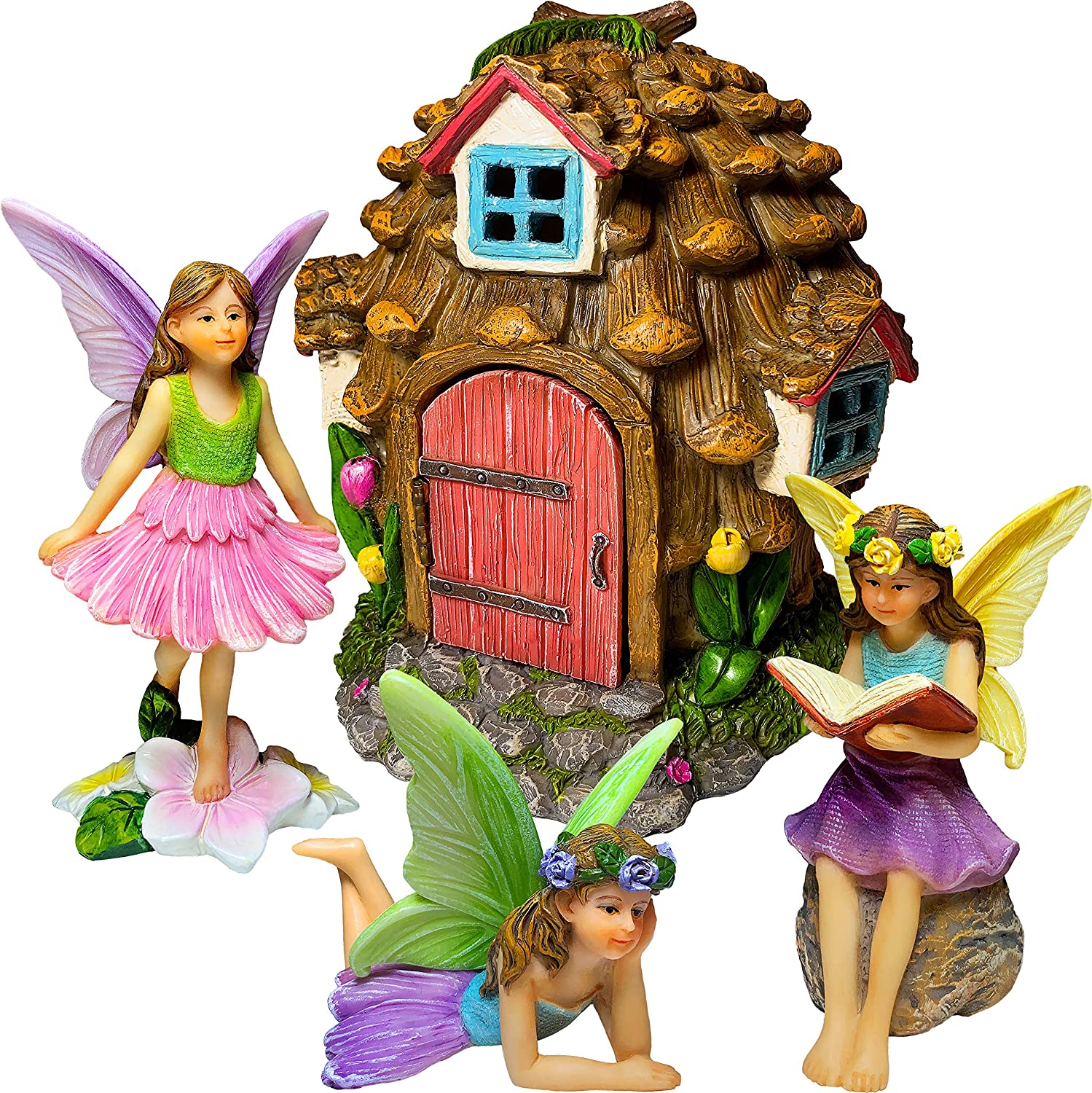 Mood Lab Fairy Garden - Pinecone Fairy House Kit - Miniature Figurines and Accessories Set of 4