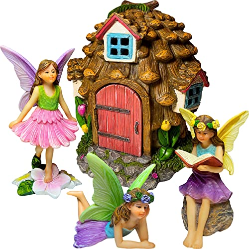 Mood Lab Fairy Garden – Pinecone Fairy House Kit – Miniature Figurines and Accessories Set of 4