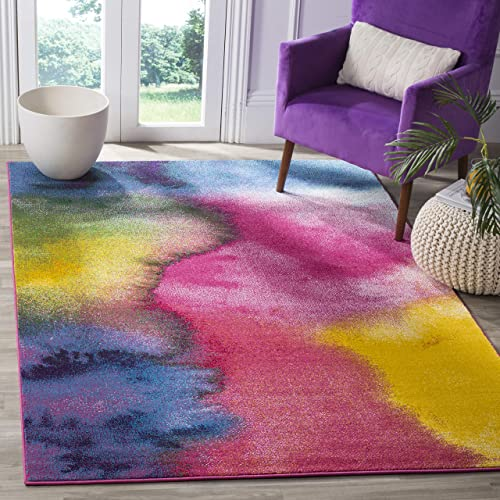 Safavieh Water Color Collection WTC621C Green and Fuchsia Square Area Rug, 6 7 Square