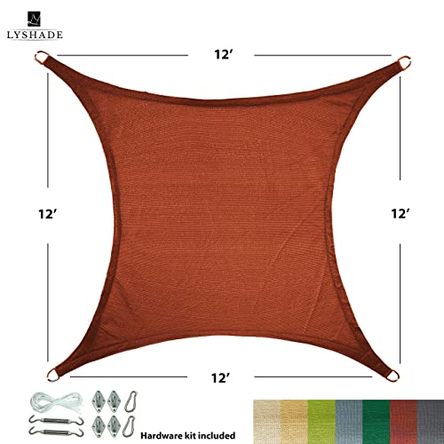LyShade 12 x 12 Square Sun Shade Sail Canopy with Stainless Steel Hardware Kit Terracotta – UV Block for Patio and Outdoor