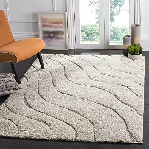 Safavieh Florida Shag Collection SG472-1113 Abstract Wave Textured 1.18-inch Thick Area Rug
