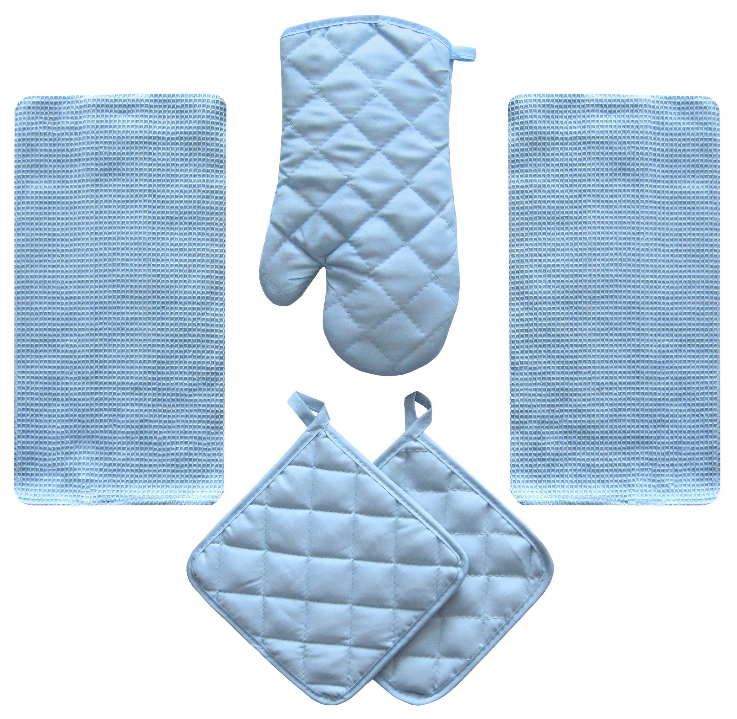 5 Piece Sky Blue Kitchen Linen Towel Set Solid Colors Heavy Weight Cotton With Potholder Oven Mitt