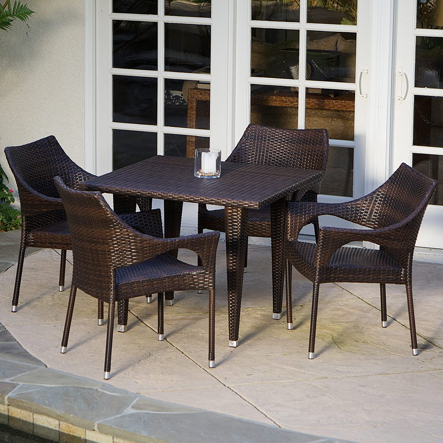 Del Mar 5 Piece Outdoor Wicker Dining Set with Stacking Chairs Perfect for Patio in Multibrown