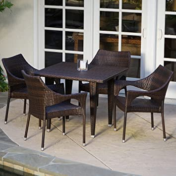 Del Mar Patio Furniture ~ 5 Piece Outdoor Wicker Dining Set With Stacking Patio  Dining