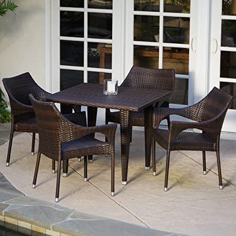 del mar patio furniture 5piece outdoor wicker dining set with stacking patio dining