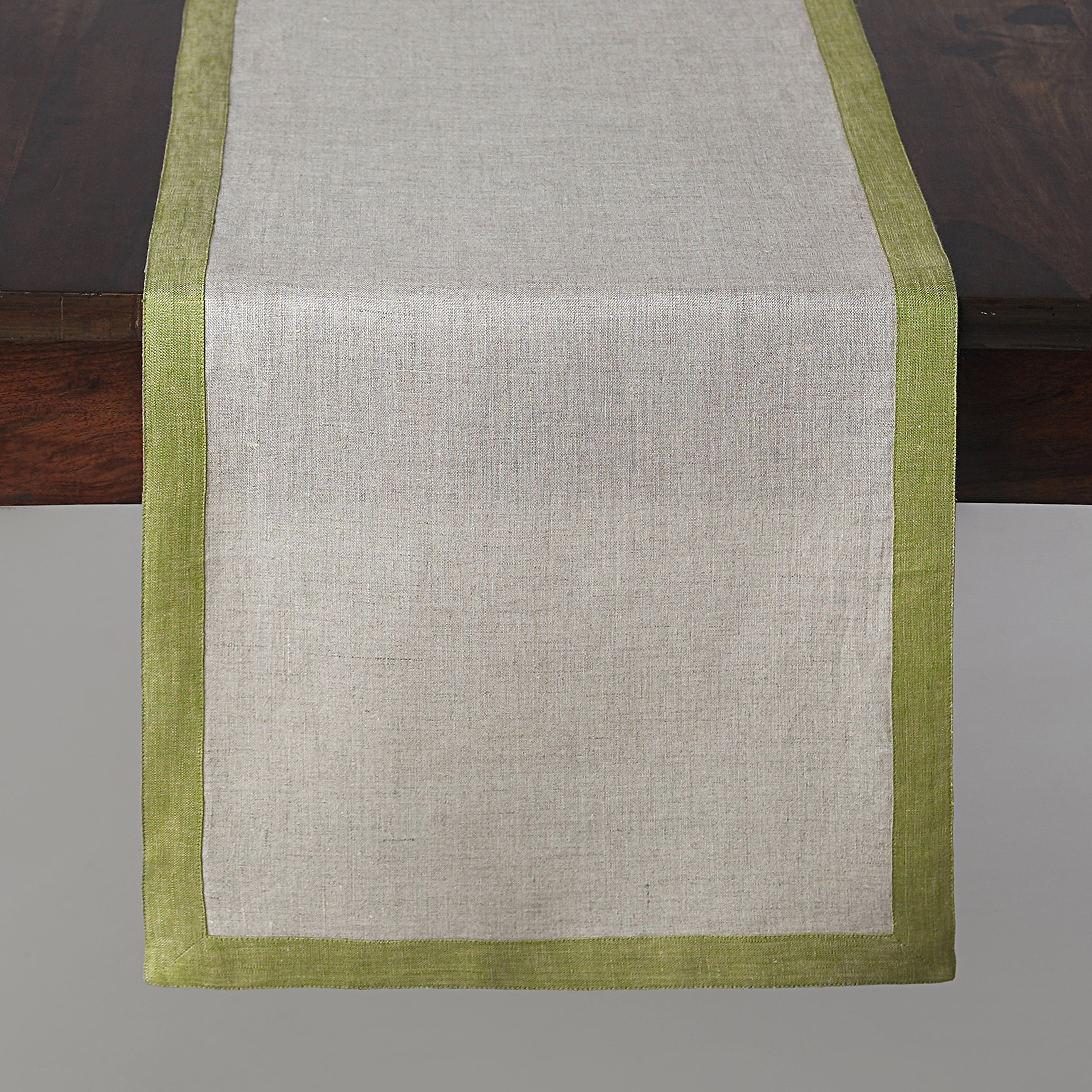 Solino Home Linen Table Runner - 14 x 90 inch, Natural Olive Rectangular Runner - 100% European Flax, Concordia