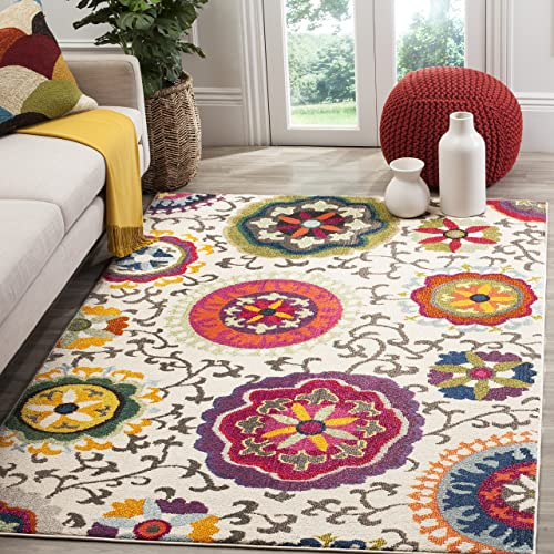 Safavieh Monaco Collection MNC233A Modern Colorful Floral Ivory and Multicolored Area Rug 9 x 12