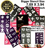 Eagle Art Face Paint Stencils | X-Large 2x2.4, Large 2x1.8, Medium 2x1.4 (Inches) Size Stencil Design | Flex To Follow Contours Body & Face For Perfect Application | Reusable Adhesive Stencils