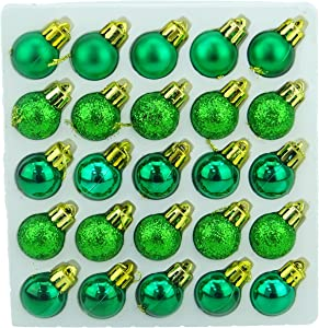 Christmas Concepts Pack of 25-25mm Mini Christmas Tree Baubles - Shiny, Matte & Glitter Decorated Baubles (Emerald Green)