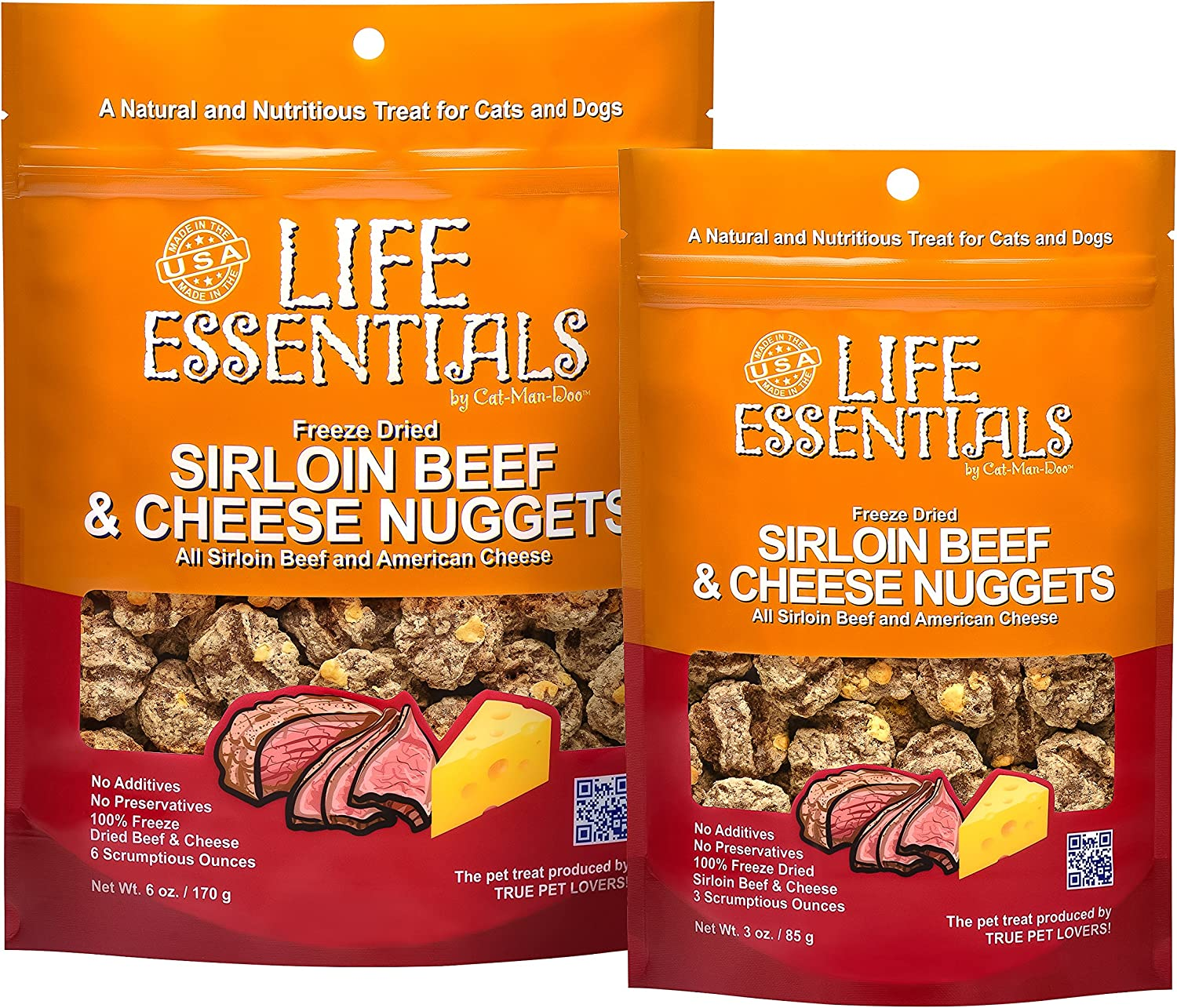 Life Essentials by Cat-Man-Doo Freeze Dried Sirloin Beef, Sirloin Beef Cheese Nugget Dog Treats – 3 oz, 6 oz