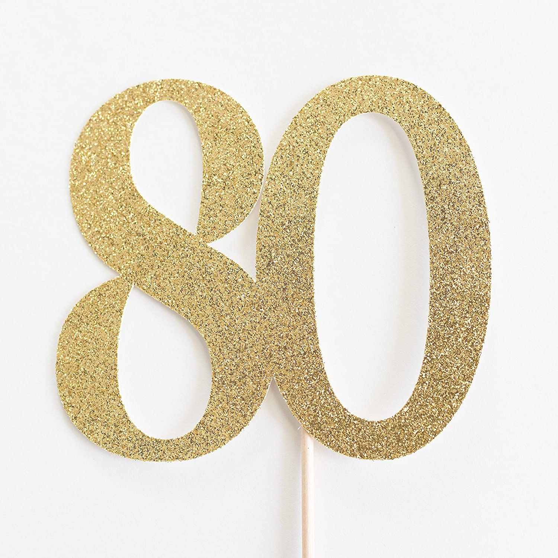 Gold Glitter 80 Cake Topper, 80th Anniversary, Eightieth Birthday, Eighty