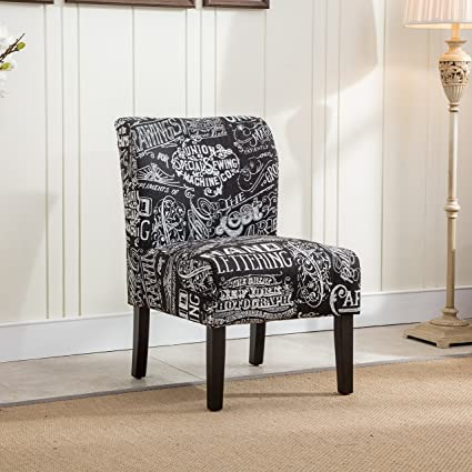 Roundhill Furniture Capa Print Fabric Armless Contemporary Accent Chair,  Chalkboard Shadow