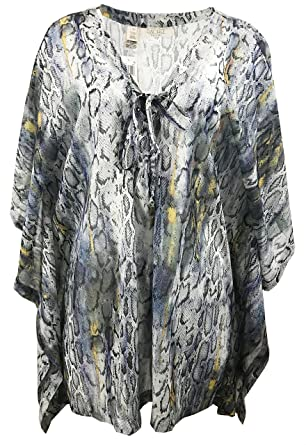 ddc69f48d73 Image Unavailable. Image not available for. Color  Rachel Rachel Roy  Lace-up V-neck Animal Snake Print Caftan ...