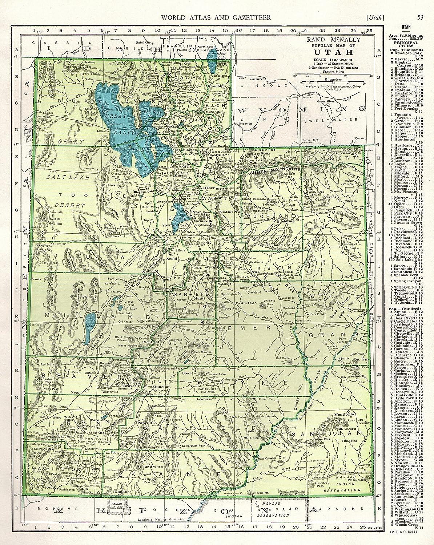 Amazon.com: 1946 Antique UTAH Map Original Vintage State Map of Utah ...