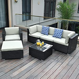 YITAHOME 6 Pieces Patio Furniture Set, Outdoor Sectional Sofa PE Rattan Wicker Conversation Set Outside Couch with Ottoman, Table and Cushions for Porch Lawn Garden Backyard, Black