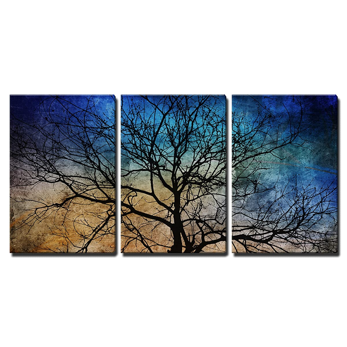 """wall26 3 Piece Canvas Wall Art - Black Tree Branches on Abstract Colorful Background - Modern Home Decor Stretched and Framed Ready to Hang - 16""""x24""""x3 Panels"""
