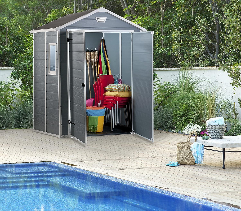 Keter - Caseta de jardín exterior Manor 6x5 DD, Color gris: Amazon ...