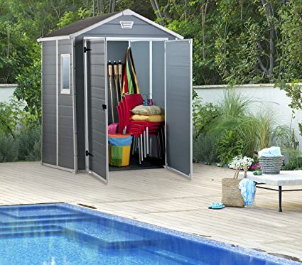 Keter - Caseta de jardín exterior Manor 6x5 DD, Color gris: Amazon.es: Jardín