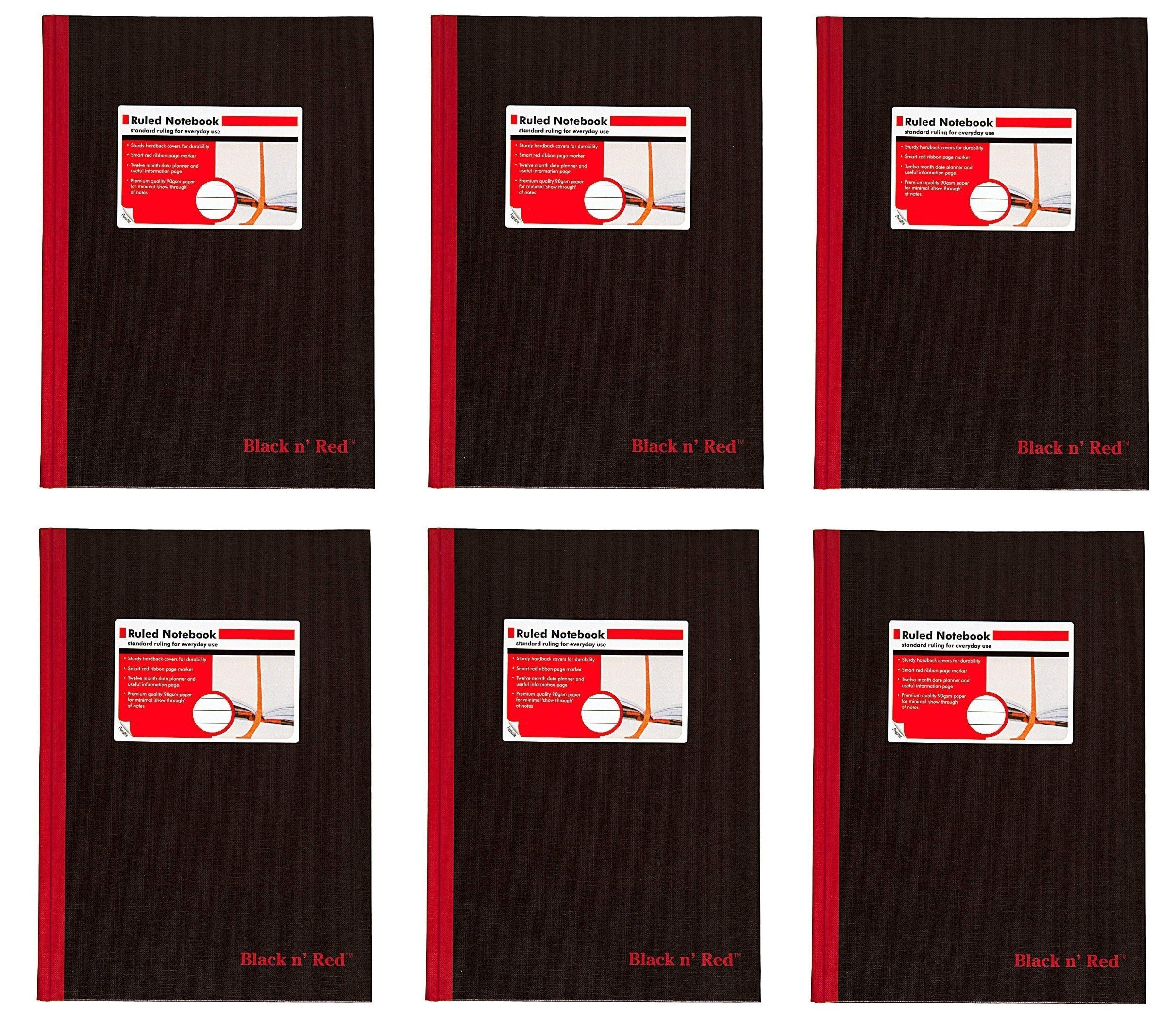 CASE OF 6 Black n' Red Hardcover Executive Notebook, 11.75 x 8.25 Inches, Black, 96 sheets/192 pages (D66174)