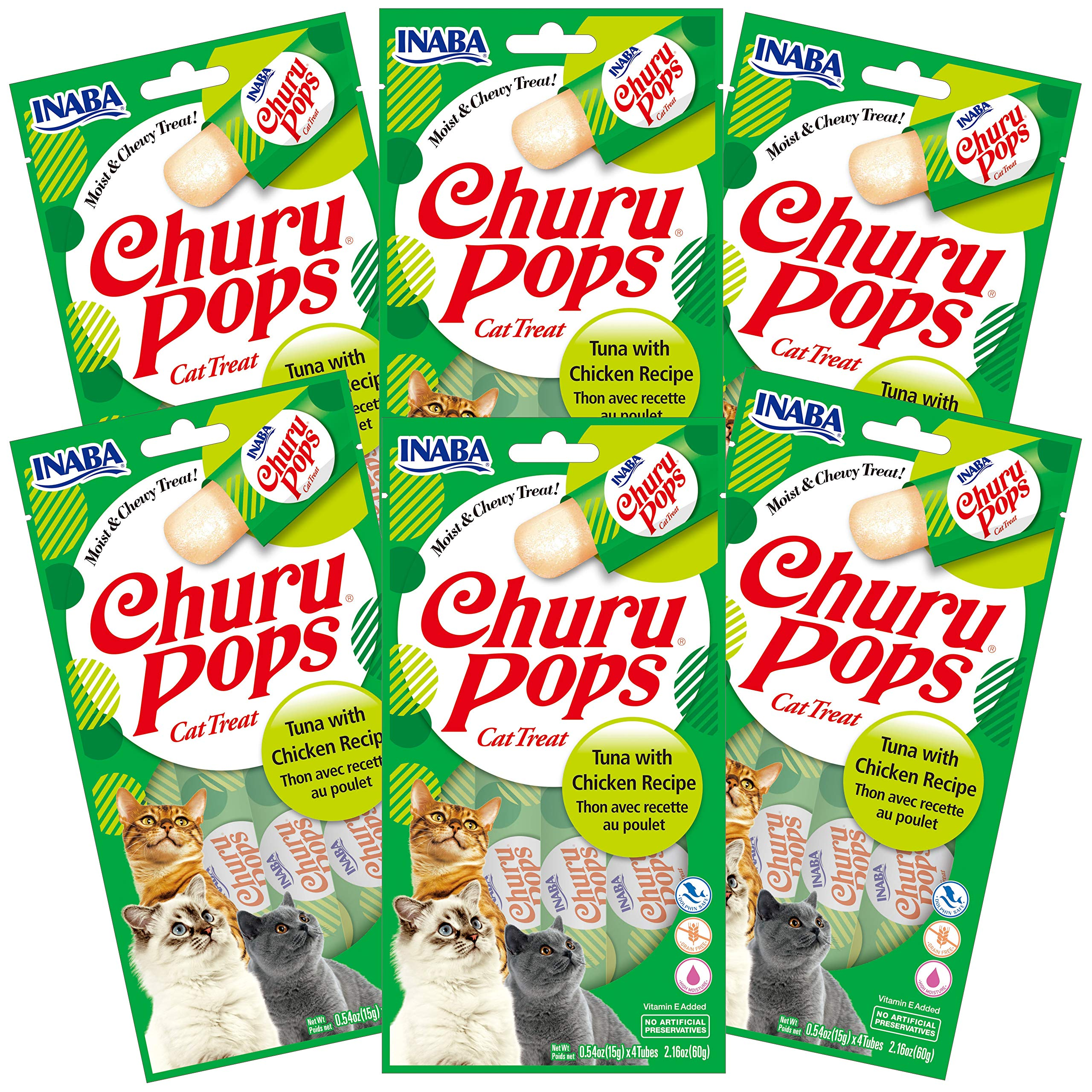 INABA Churu Pops Moist and Chewy Cat Treat Tuna with Chicken Recipe 24 Tubes by INABA