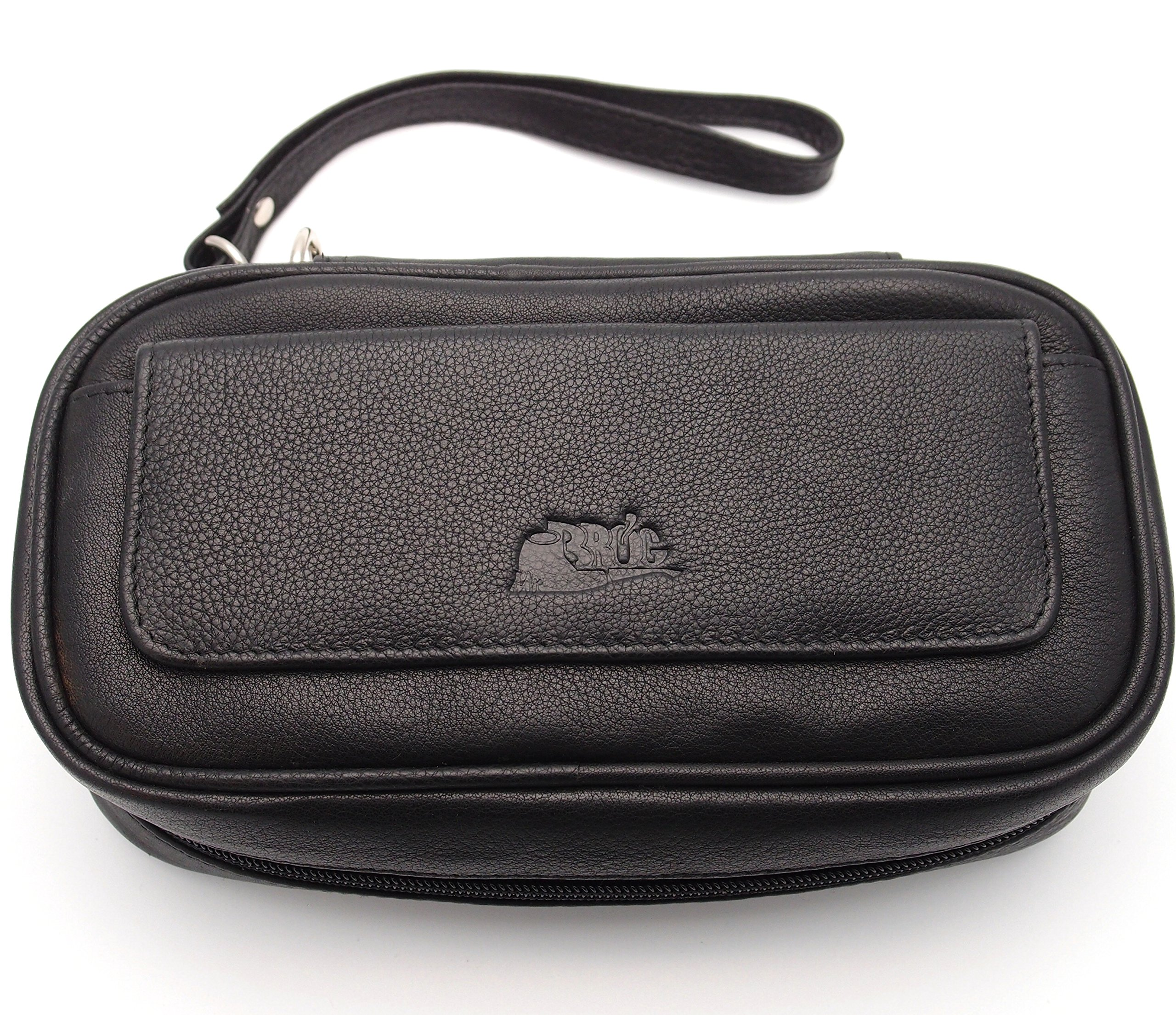 Tobacco Pipe Leather Case - 3 Pipes - Authentic Full Grade Leather - Black