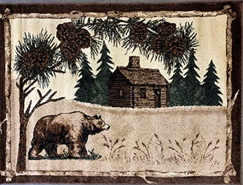 Carpet King Cabin Style Door Mat Area Rug Bear Bass Fish Country Lodge Black Beige Brown Design 376 2 Feet X 3 Feet 2 Inch