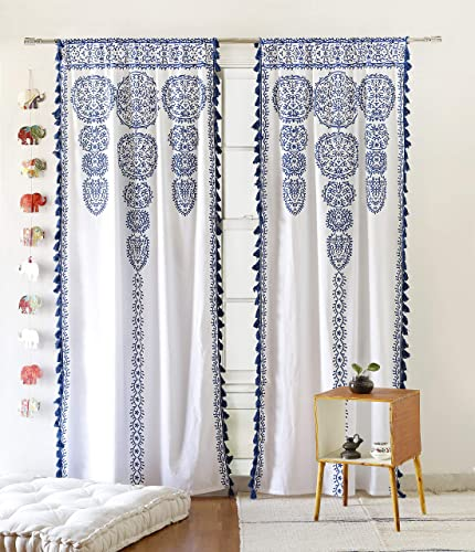 Blue Moroccan Medallion Floral Ombre Mandala Window Curtains Tapestry Indian Drape Balcony Room Decor Divider Sheer Wall Hanging with Pom Pom Lace