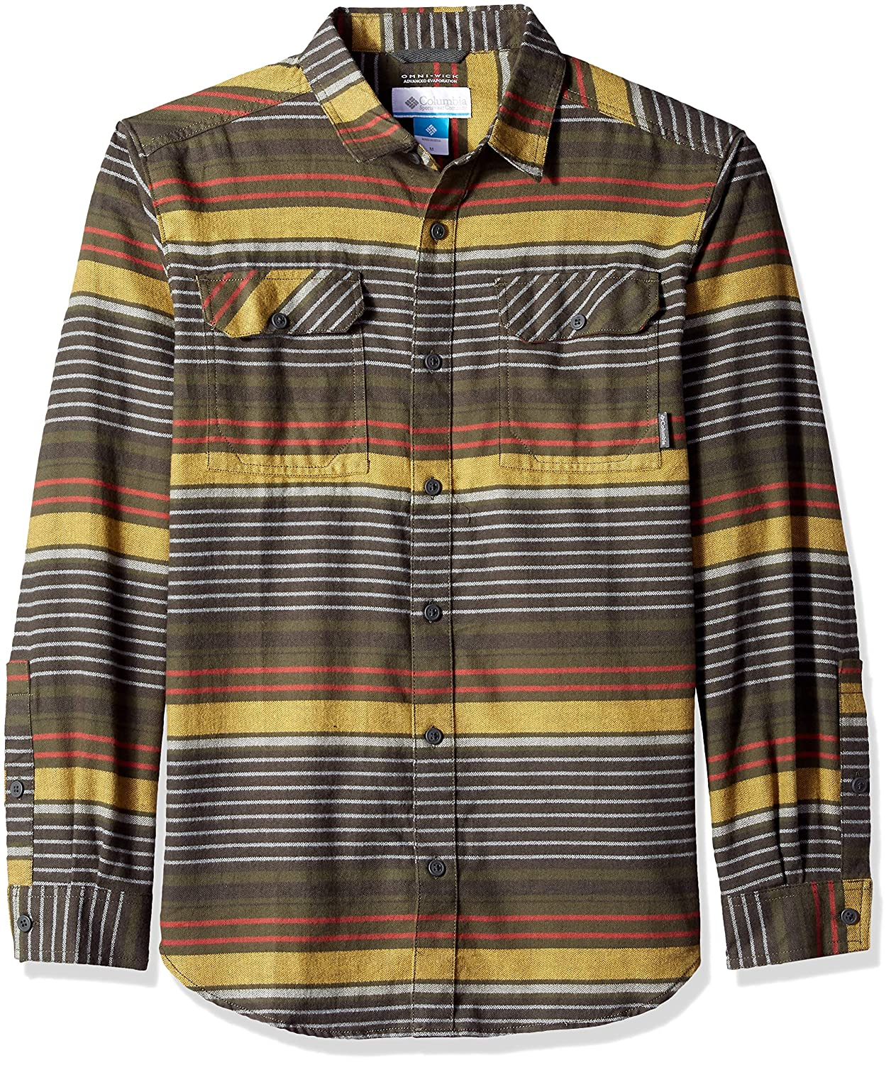 3f6d837e7a3 Peatmoss Stripe Columbia Mens Flare Flare Flare GunTM Flannel Iii Long  Sleeve Shirt Hiking Shirt e3aed6