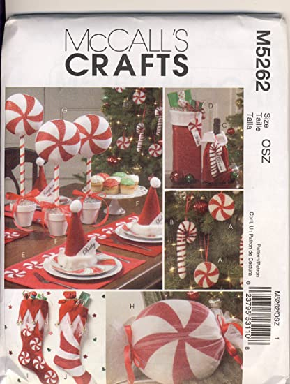 mccall crafts sewing pattern 5262 use to make red and white christmas decorations