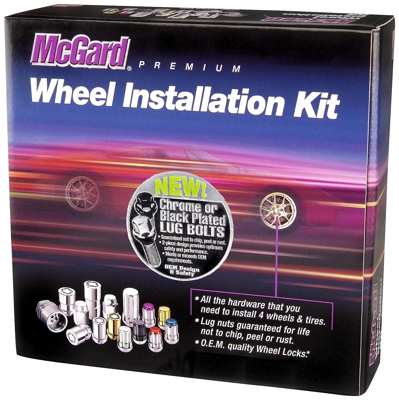 McGard 68020BK Chrome//Black M14 x 1.5 Thread Size Radius Seat Lug Bolt Wheel Installation Kit for 5 Lug Vehicles